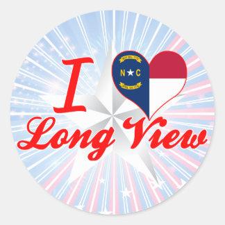 Amo la visión a largo plazo, Carolina del Norte Pegatina Redonda