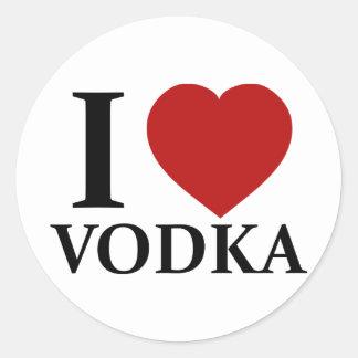 Amo la vodka pegatinas redondas