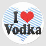 Amo la vodka pegatina redonda