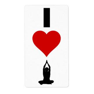 Amo la yoga (vertical) etiquetas de envío