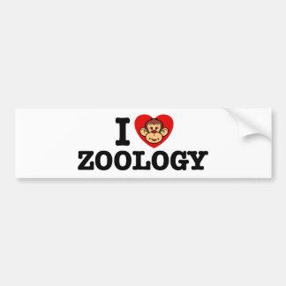 Amo la zoología pegatina para auto