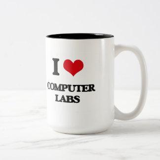 Amo laboratorios del ordenador taza de dos tonos
