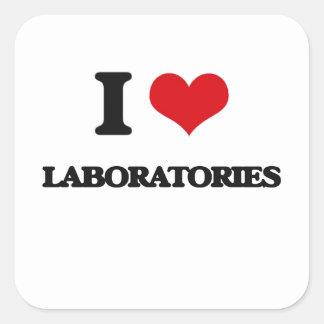 Amo laboratorios calcomanías cuadradass