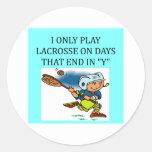 amo lacrosse etiquetas redondas