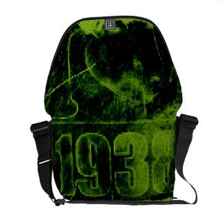 Amo las 1938 - vintage verde del pixel - bolsas de bolsa messenger