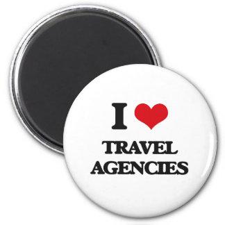 Amo las agencias de viajes imán redondo 5 cm