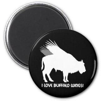 Amo las alas de búfalo imán redondo 5 cm