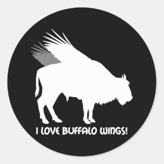 Amo las alas de búfalo pegatina redonda