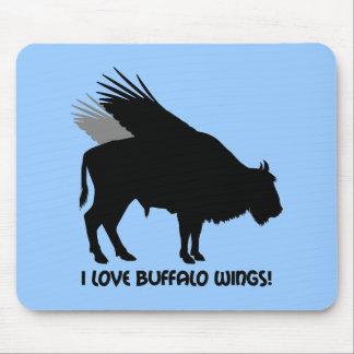 Amo las alas de búfalo tapete de ratones