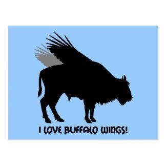 Amo las alas de búfalo tarjetas postales