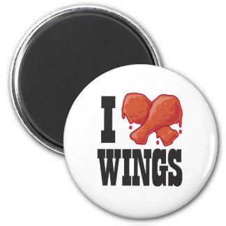 Amo las alas de pollo imán redondo 5 cm