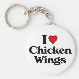 Amo las alas de pollo llavero redondo tipo pin