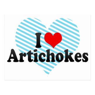 Amo las alcachofas tarjetas postales