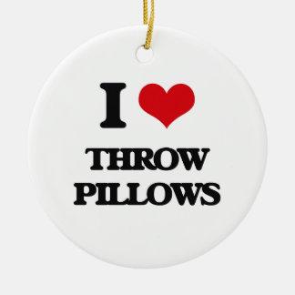 Amo las almohadas de tiro adorno redondo de cerámica