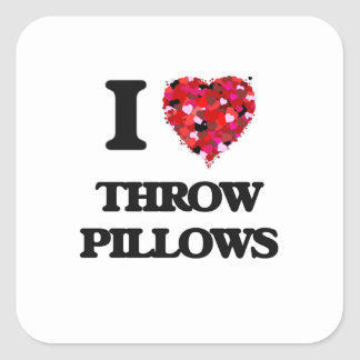 Amo las almohadas de tiro pegatina cuadrada