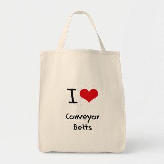 Amo las bandas transportadoras bolsa tela para la compra