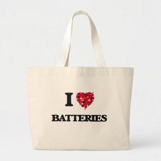 Amo las baterías bolsa tela grande