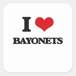 Amo las bayonetas calcomanía cuadradas