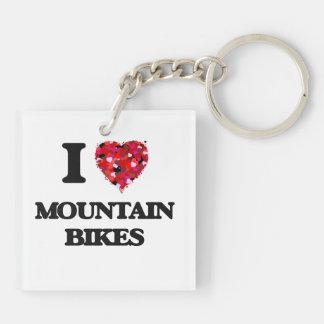 Amo las bicis de montaña llavero cuadrado acrílico a doble cara