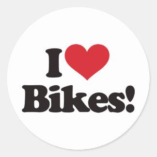 ¡Amo las bicis Pegatina Redonda