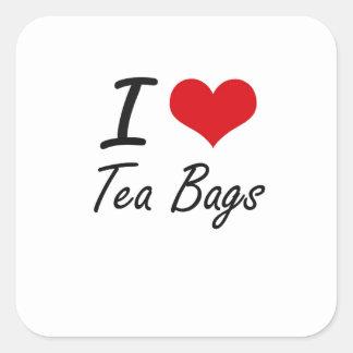 Amo las bolsitas de té pegatina cuadrada