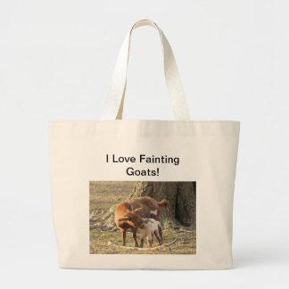 Amo las cabras de desfallecimiento - tote enorme bolsa tela grande