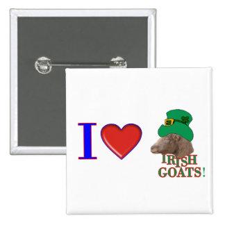 Amo las cabras irlandesas - REGALO del DÍA de ST P Pin Cuadrado