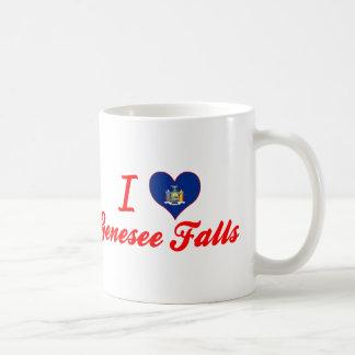 Amo las caídas de Genesee, Nueva York Taza Básica Blanca