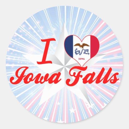 Amo las caídas de Iowa, Iowa Pegatina Redonda