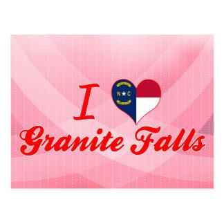 Amo las caídas del granito, Carolina del Norte Tarjetas Postales