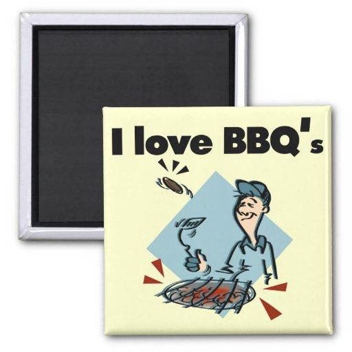 Amo las camisetas y los regalos de BBQs Iman De Frigorífico