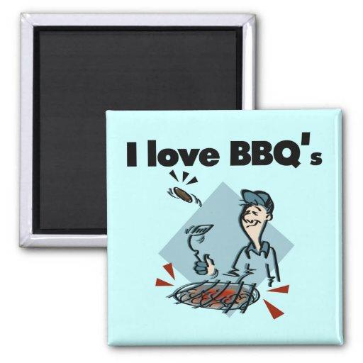 Amo las camisetas y los regalos de BBQs Imán Cuadrado