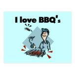 Amo las camisetas y los regalos de BBQs Postales