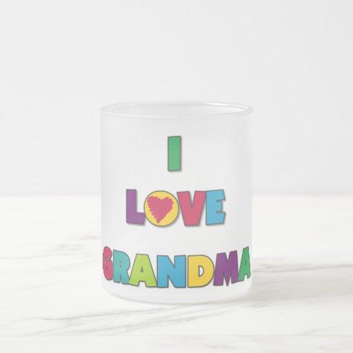 Amo las camisetas y los regalos de la abuela taza cristal mate