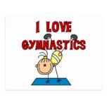 Amo las camisetas y los regalos de la gimnasia tarjeta postal