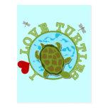 Amo las camisetas y los regalos de las tortugas postal