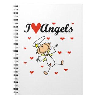 Amo las camisetas y los regalos de los ángeles libros de apuntes con espiral