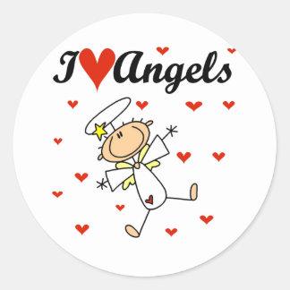 Amo las camisetas y los regalos de los ángeles pegatina redonda