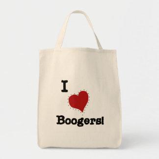 Amo las camisetas y los regalos de los Boogers Bolsa