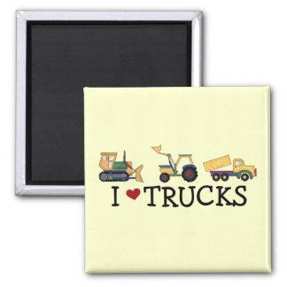 Amo las camisetas y los regalos de los camiones imán cuadrado