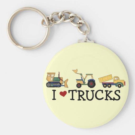 Amo las camisetas y los regalos de los camiones llavero redondo tipo pin