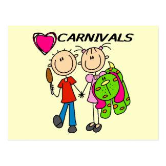 Amo las camisetas y los regalos de los carnavales postales