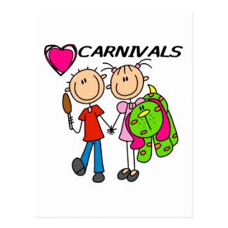 Amo las camisetas y los regalos de los carnavales tarjetas postales