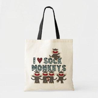 Amo las camisetas y los regalos de los monos del c bolsa tela barata