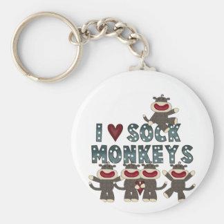 Amo las camisetas y los regalos de los monos del c llavero redondo tipo pin