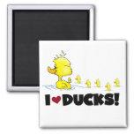 Amo las camisetas y los regalos de los patos imán de nevera