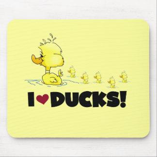 Amo las camisetas y los regalos de los patos mousepads