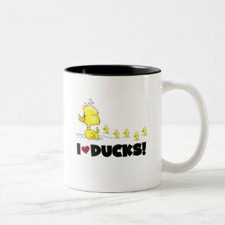 Amo las camisetas y los regalos de los patos taza de café