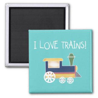 Amo las camisetas y los regalos de los trenes imán cuadrado