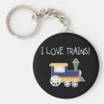 Amo las camisetas y los regalos de los trenes llavero personalizado
